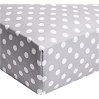 Regency REG-PDG-QFTD 144TC 100% Cotton Single Queen Size Polka Dot Fitted Sheet, Grey, Fitted sheet 180 x 200 + 30 cm