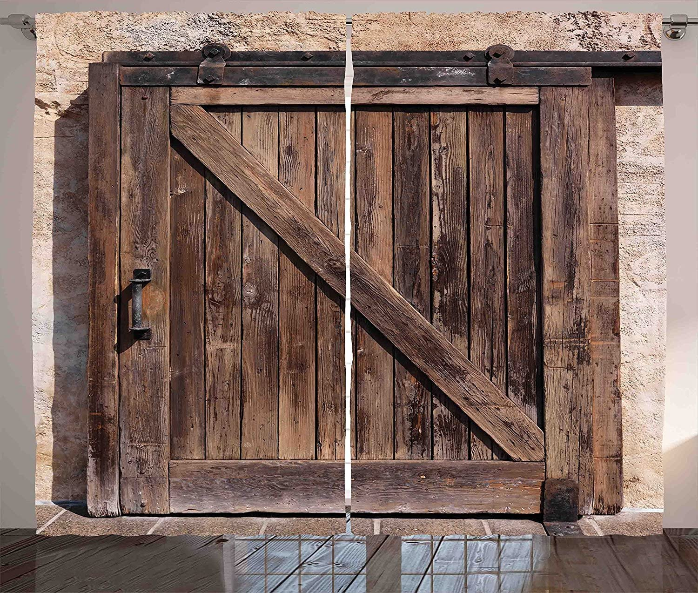 Rústico cortinas decoración años puerta de granero corredera de madera con impresión Vintage textura arquitectónico granja casa salón dormitorio ventana Drapes Panel 2 piezas marrón beige 120 x 66: Amazon.es: Hogar