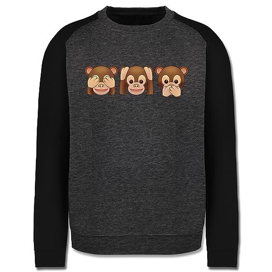 Comic Shirts - Äffchen Emoji - S - Dunkelgrau meliert/Schwarz - JH033 -  Herren