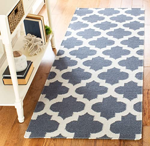 Safavieh Dhurries Collection DHU623B Hand Woven Blue and Ivory Premium Wool Area Rug 2 6 x 4