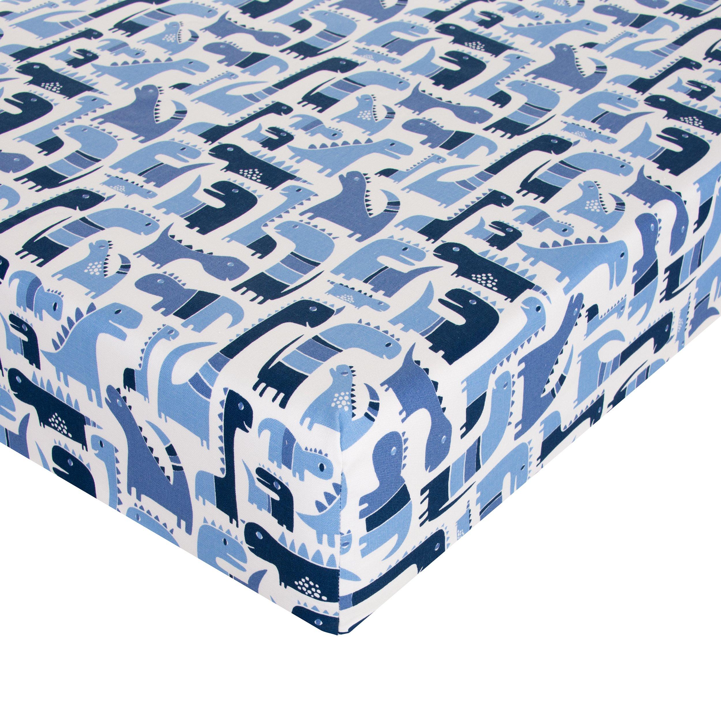 Glenna Jean Dino Blue Crib Sheet Fitted 28''x52''x8'' Nursery Standard