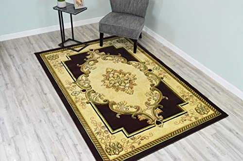 PlanetRugs Glamour Design 206 3D Hand Carved Traditional Rug Oriental Floral 5 2 x7 5 Pistachio Brown