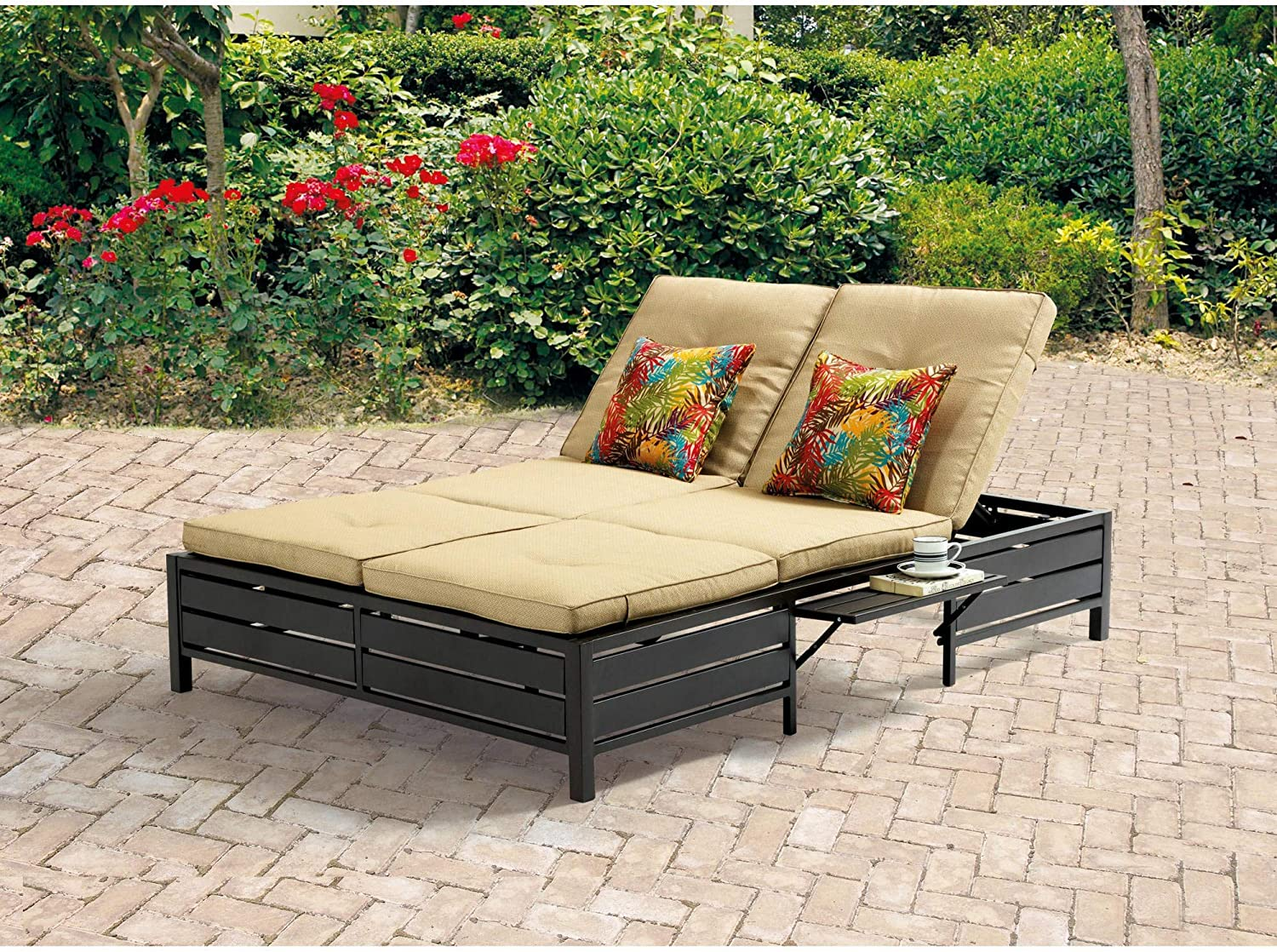 Amazon Com Double Chaise Lounger This Red Stripe Outdoor Chaise Lounge Is Comfortable Sun Patio Furniture Guaranteed Which Can Also Be Used In Your Garden Near Your Pool Or On Your