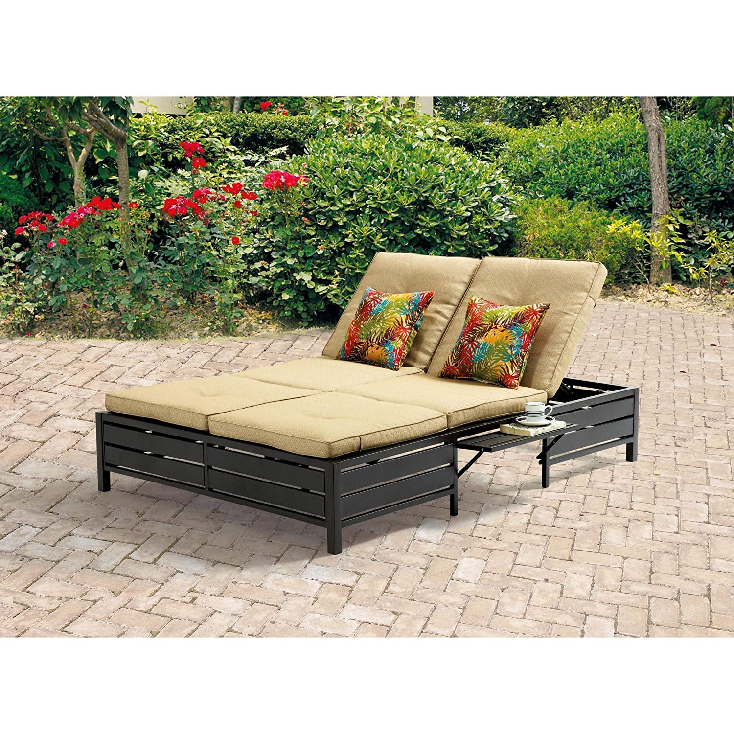 Double chaise lounger this red stripe outdoor chaise lounge is comfortable sun patio furniture guaranteed which can also be used in your garden