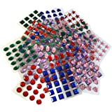 An Assortment Of Self-Adhesive Stick On Arts And Crafts Jewels, Gemstones Come In Hearts, Stars, Circles, Ovals And Squares (500 pcs)