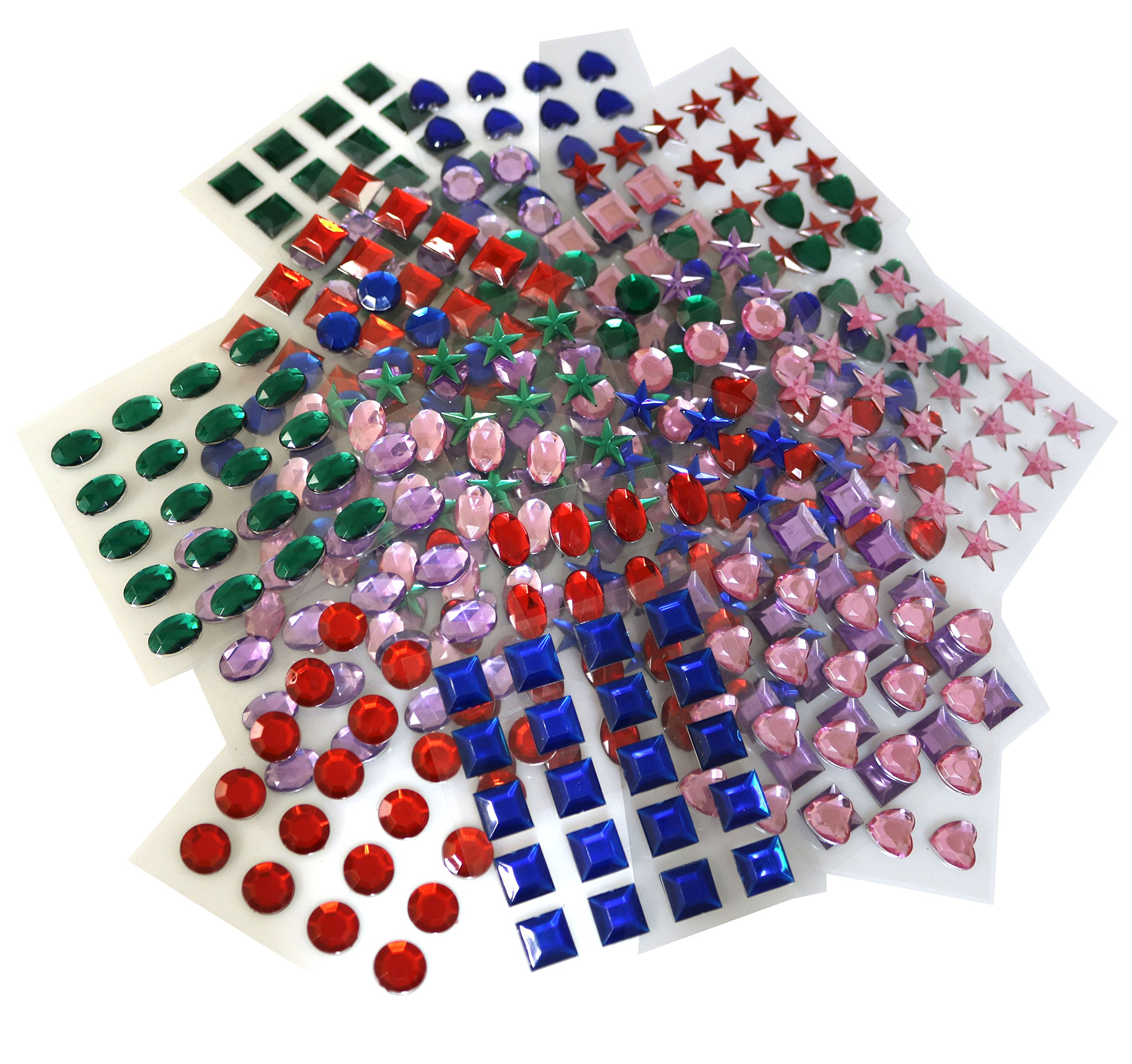 Arts and crafts jewels - An Assortment Of Self Adhesive Stick On Arts And Crafts Jewels Gemstones Come In Hearts Stars Circles Ovals And Squares 500 Pcs
