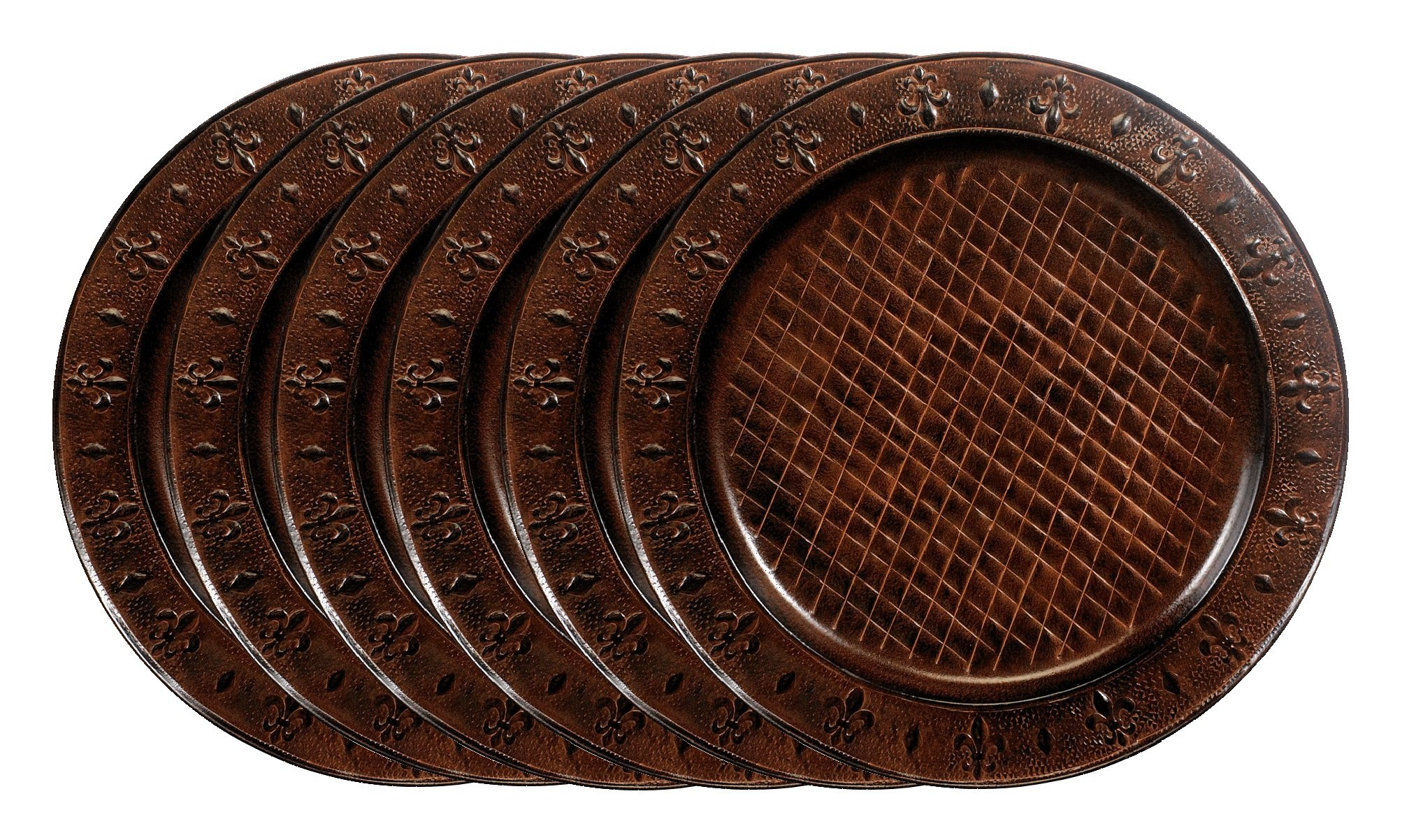 Old Dutch Versailles Charger Plate, 13-Inch, Dark Brown, Set of 6