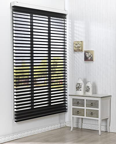 Foiresoft Custom Cut to Size, Winsharp Triple 55pd, Black, W 39 x H 64 Inch Roller Sheer Fabric Shade Horizontal Window Blinds Treatments, Maximum 91 Inch Wide by 103 Inch Long
