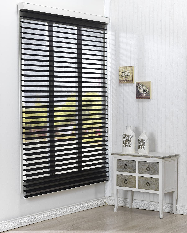 Custom Cut To Size Winsharp Triple 55pd Black W 67 X H 82 Inch Roller Sheer Fabric Shade Horizontal Window Blinds Treatments Maximum 91