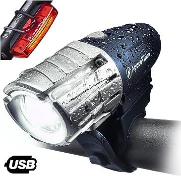 Apace Vision Set de Luces Bicicleta Recargable USB - Luz LED ...