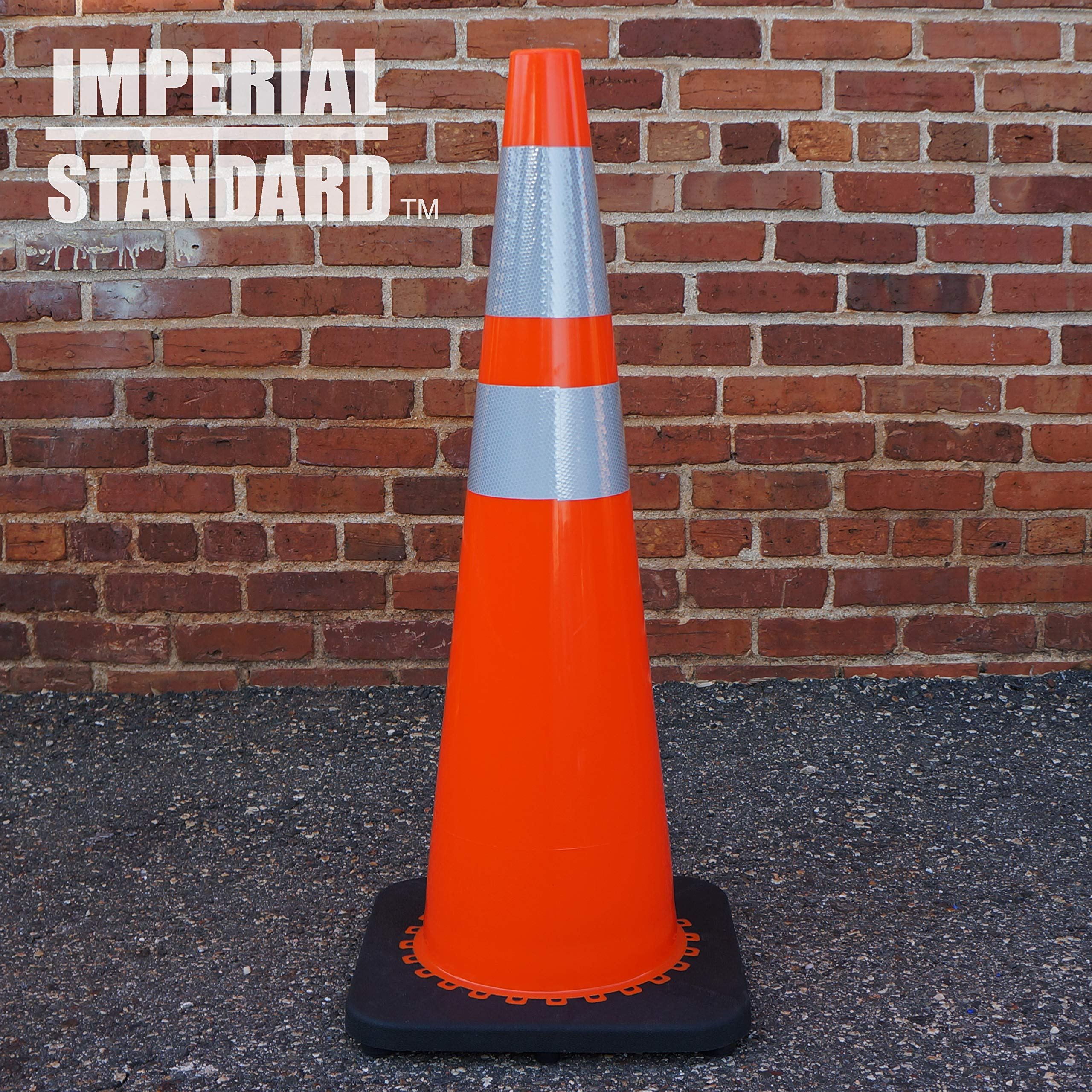Traffic Cones - Safety Cones - 36'' Orange Cones with 2 Reflective Collars - Construction Cones - Road Cones - Parking Cones - Street Cone (4 pack) by Imperial Standard