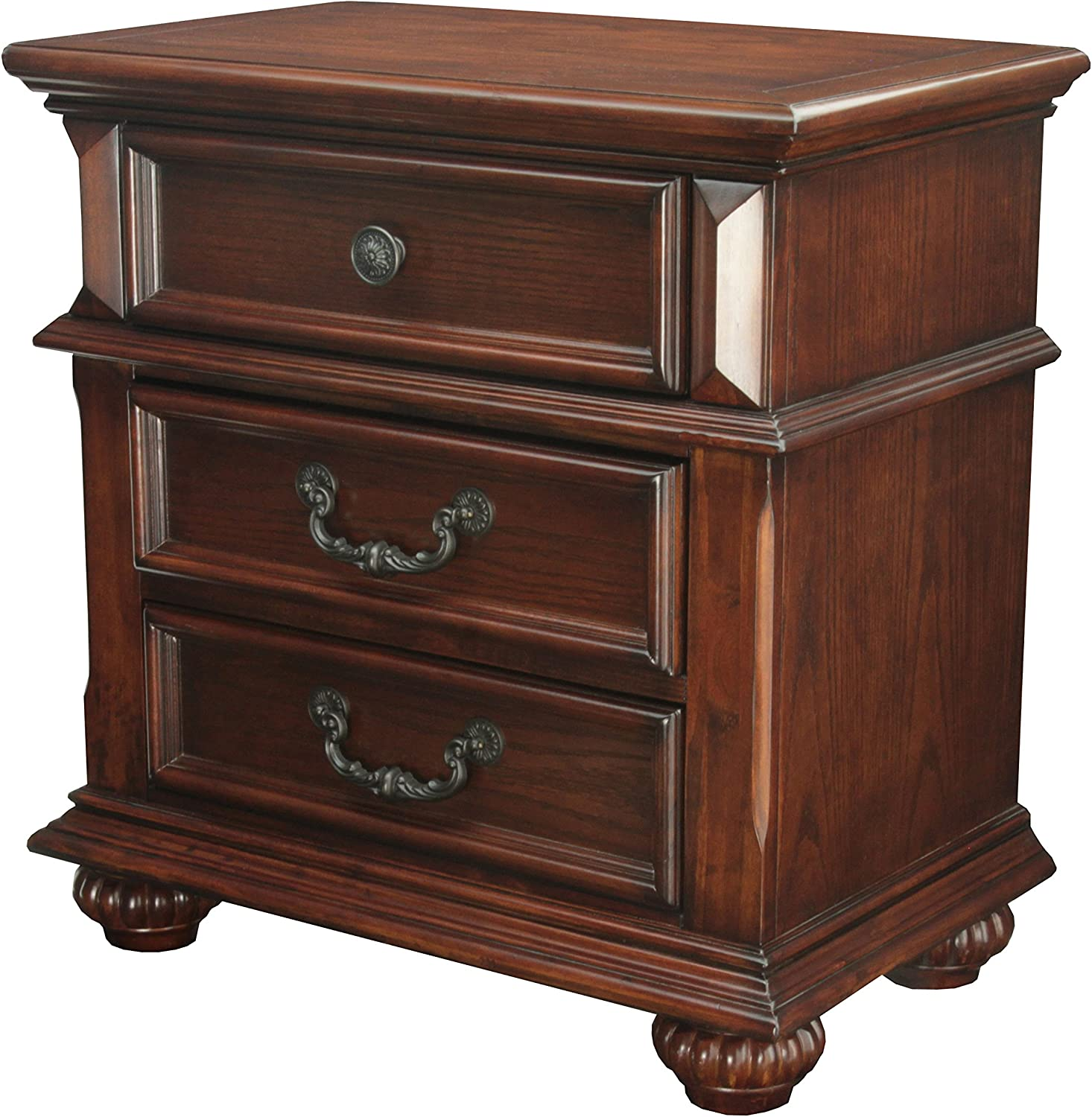 HOMES Inside Out Iohomes Prompe 3-Drawer Nightstand, Antique Dark Oak