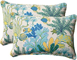 "Pillow Perfect Outdoor/Indoor Splish Splash Marina Oversized Lumbar Pillows, 24.5"" x 16.5"", Multicolored, 2 Pack"