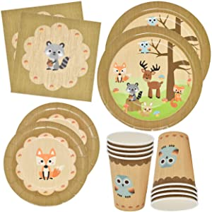"Gift Boutique Woodland Animal Creatures Tableware Set 24 9"" Plates 24 7"" Plates 24 9 Oz Cups and 50 Luncheon Napkins for Baby Shower Birthday Forest Friends Theme Party Supplies Decorations"