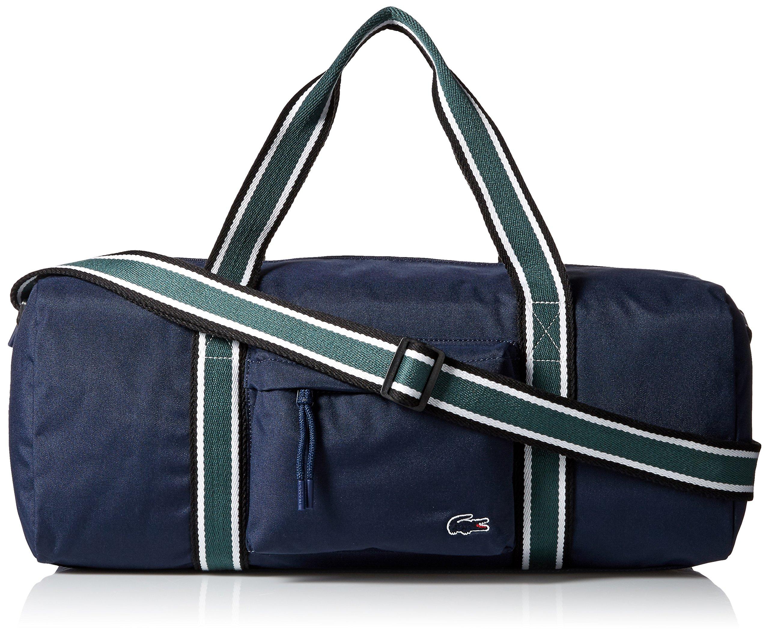 Lacoste Men's Tennis Set Duffle Bag, Peacoat Sinople Stripe, One Size