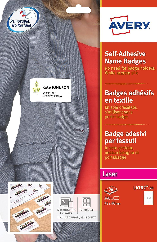 L4787-20 200 badges adh/ésifs en textile blanc liser/é bleu 80x50 mm Avery