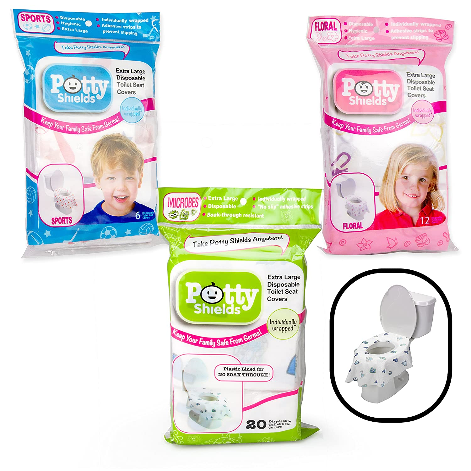 Toilet Seat Covers- Disposable XL Potty Seat Covers, Individually Wrapped by Potty Shields - Extra-Large, No Slip (Sports -20 Pack)