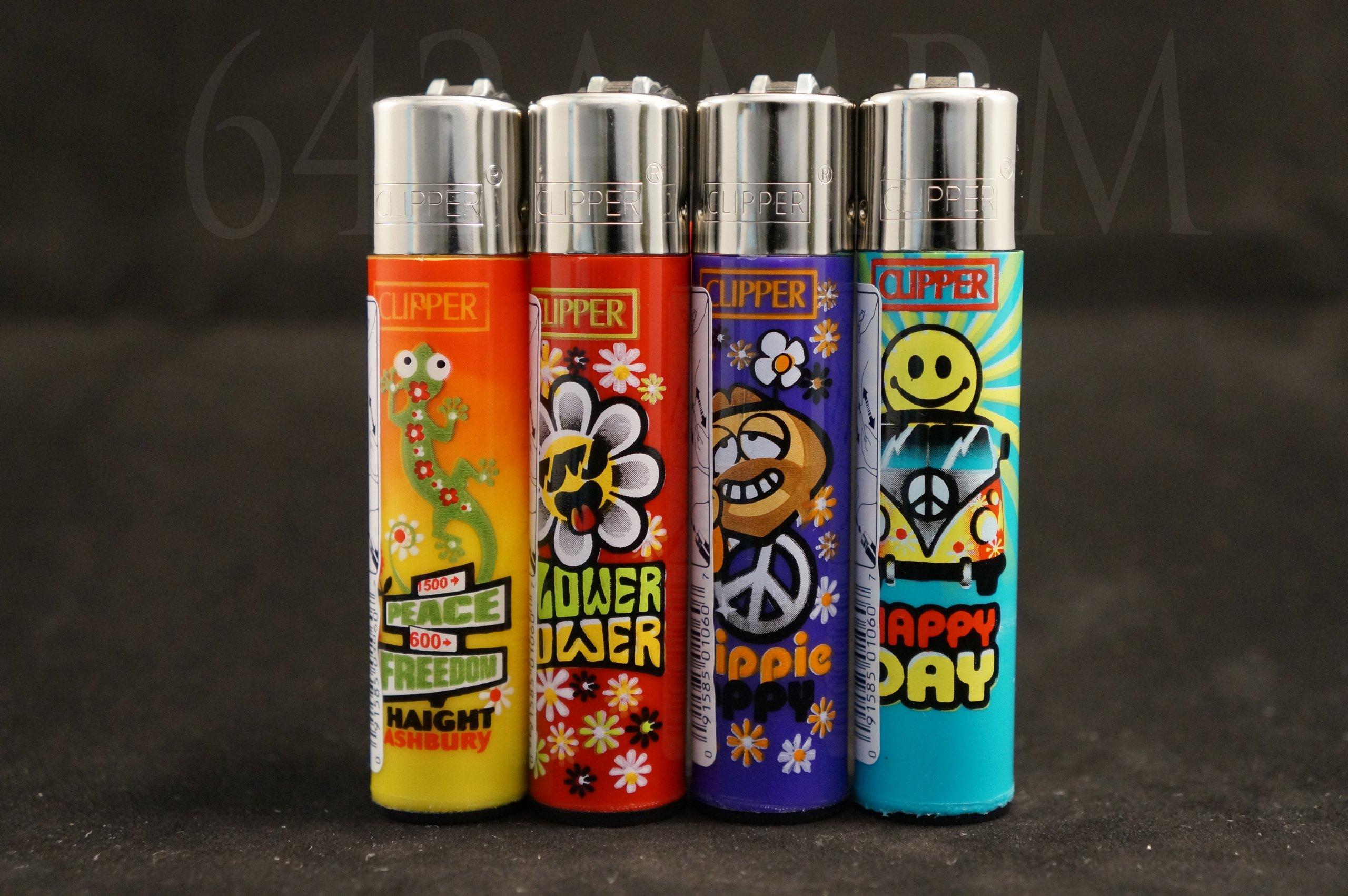 4 New Refillable Original Clipper Lighters Hippi Design