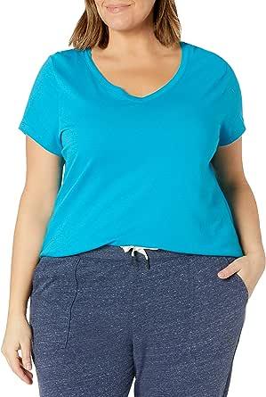 Just My Size Size Women's Plus SizeFlowy Short Sleeve V-Neck Top