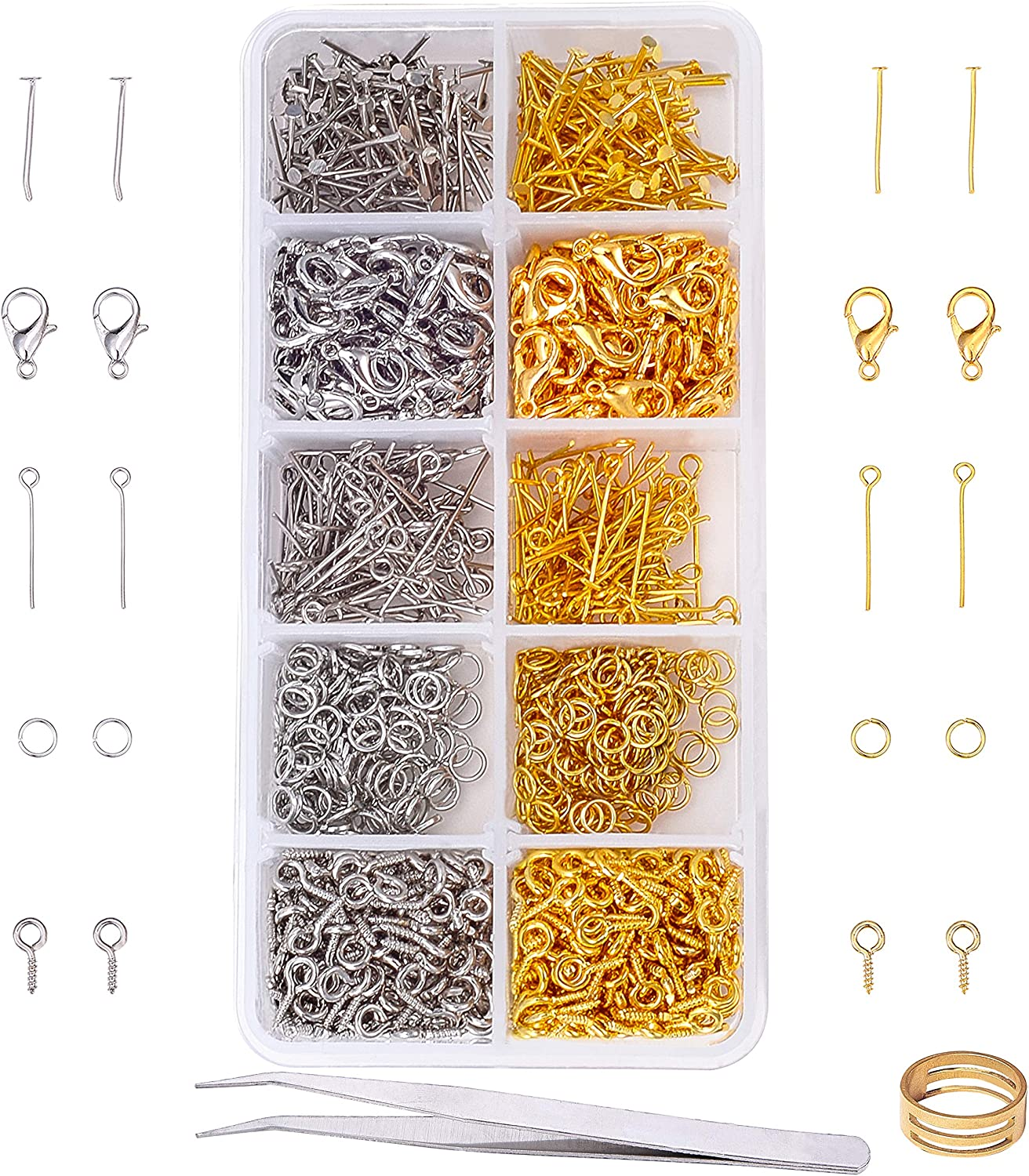 400pcs Jewelry Making Starter Kit Open Jump Rings Lobster Clasp Ribbon Ends