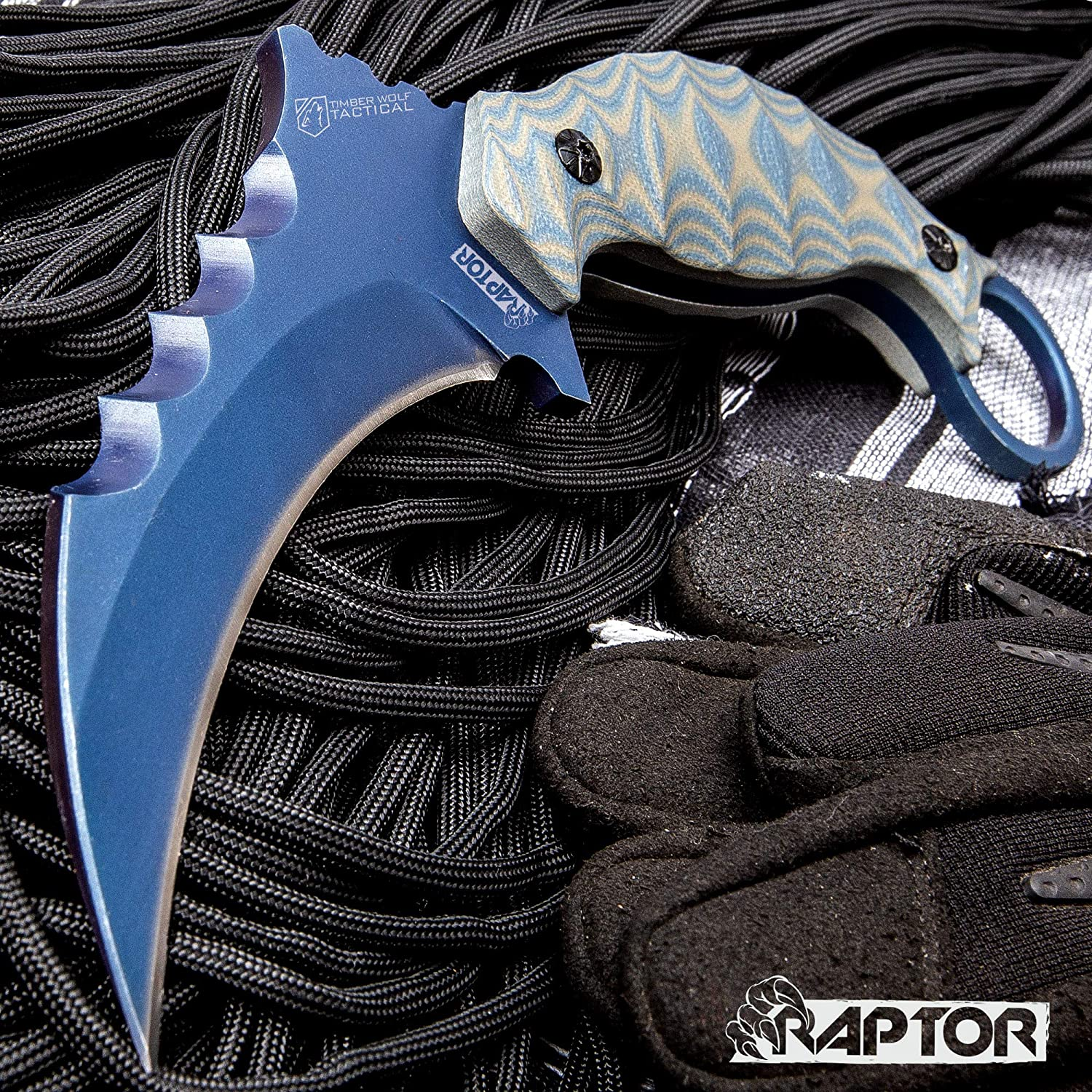 K EXCLUSIVE Blue Raptor Karambit with Sheath – 3Cr13 Stainless Steel, Titanium Coated, G10 Handle Scales, Open-Ring Pommel – Length 8 1 4