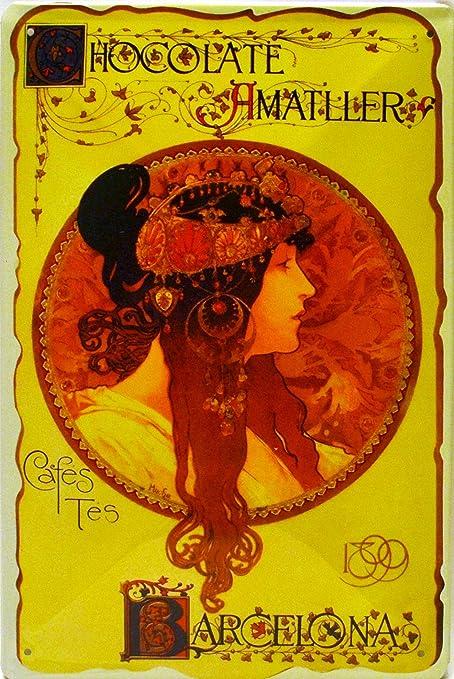 Cartel Póster publicitario de Chapa metálica con diseño Retro Vintage de Catalunya/España. Tin Sign. 30 cm x 20 cm (Chocolates AMATLLER MEDALLON): Amazon.es: Hogar