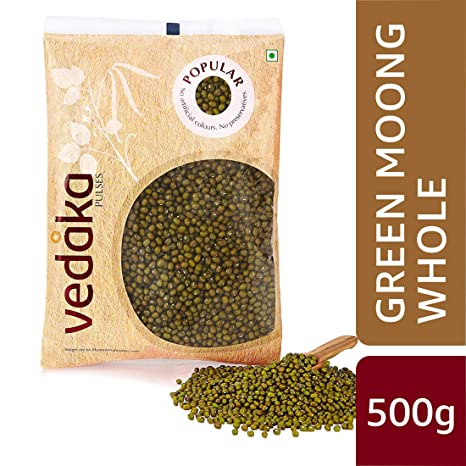 Amazon Brand - Vedaka Popular Green Moong Whole / Sabut, 500g