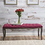 Tassette Tufted Deep Red Fabric Bench