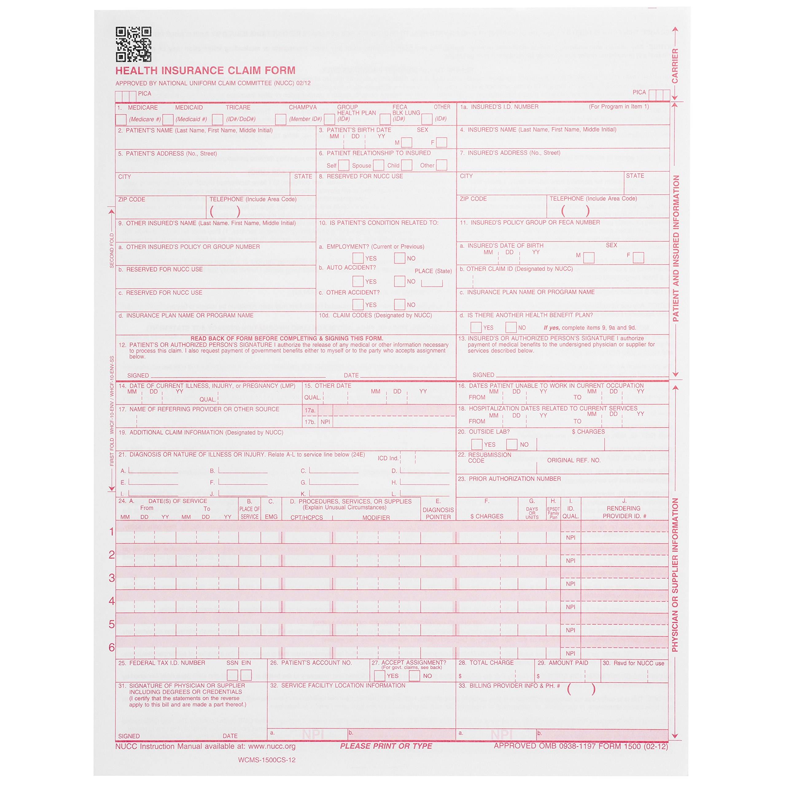 500 CMS-1500 Claim Forms - Current HCFA 02/2012 Version''New Version''- Forms Will line up with Billing Software and Laser Compatible- 500 Sheets - 8.5'' x 11 by Blue Summit Supplies (Image #2)