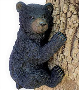 Black Bear on a Tree - Garden Decor/Yard Decorative Sculpture/Baby Bear Cub Tree Hugger Statue
