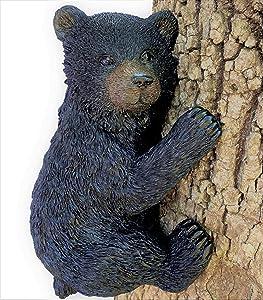 Black Bear on a Tree - Garden Decor/Yard Decorative Sculpture/Baby Bear Cub Tree Hugger Statue
