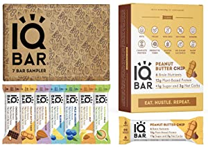 IQBAR Keto Protein Bars Bundle (19 Bars) - Gluten-free, Dairy-free Low Carb Protein Bars and Vegan Snacks - 12 Low Carb Peanut Butter Chip Protein Bars + 7 Bar Sampler Keto Snacks