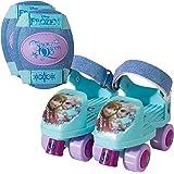 PlayWheels Disney Frozen Glitter Roller Skates with Knee Pads, Junior Size 6-12