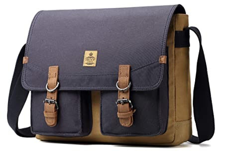 22baa33f5e Image Unavailable. Image not available for. Color  Troop London Heritage  Canvas Leather Messenger Bag ...
