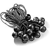 Tensor de 25lonas con bola (Negro 195mm) para fijación de tienda de campaña lonas y señalizaciones. Goma   Expander de Honda   planificar plana   lonas goma   bola Tensor, tensor de goma con bolas
