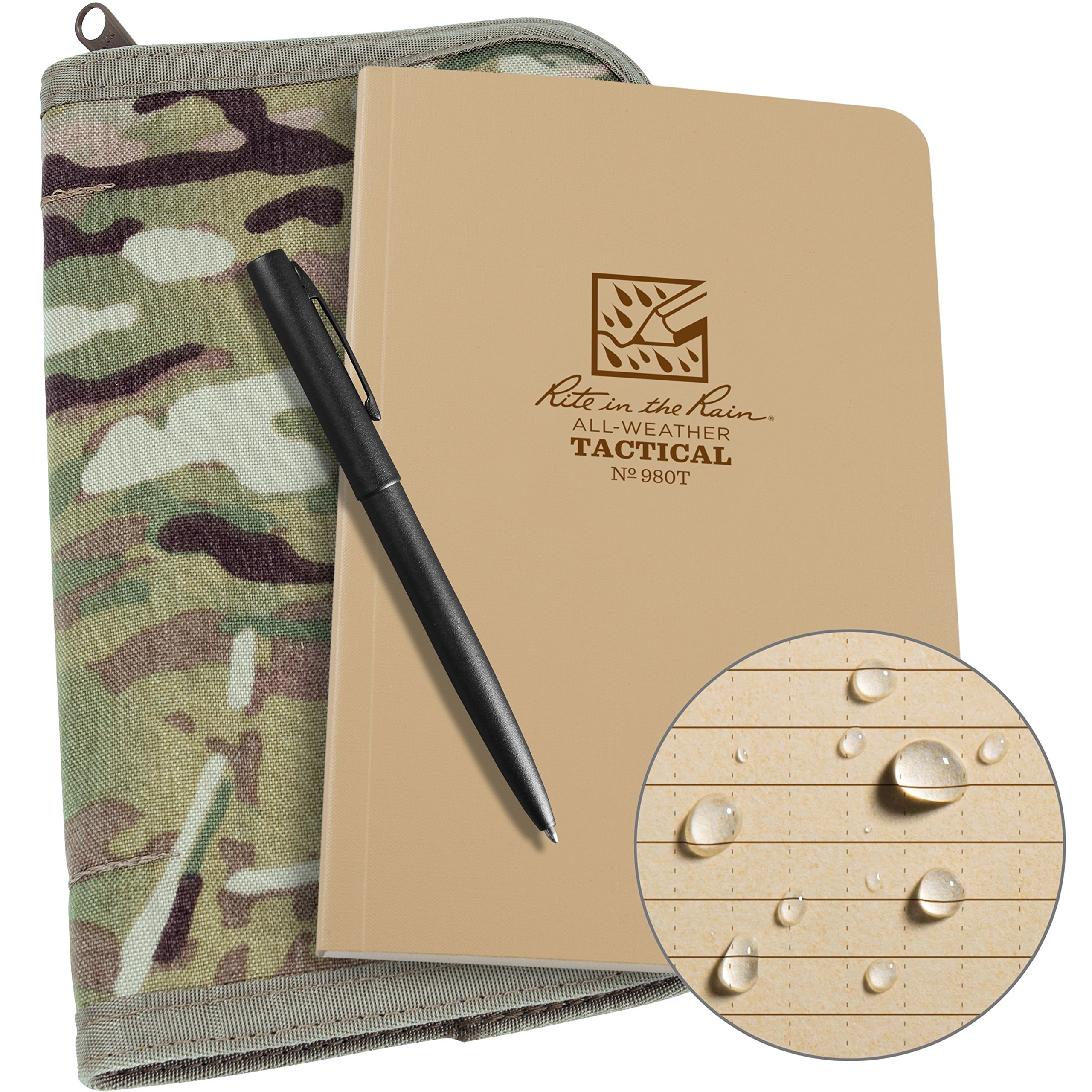 Rite in the Rain Weatherproof Tactical Field Kit: MultiCam CORDURA Fabric Cover, 4 5/8'' x 7 1/4'' Tan Tactical Notebook, Weatherproof Pen (No. 980M-KIT)