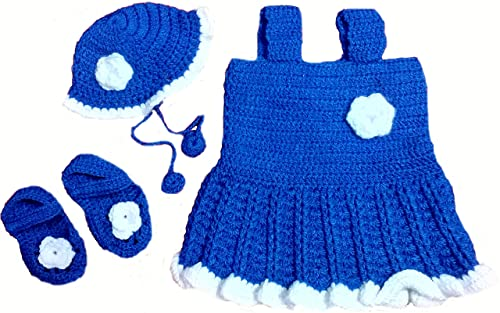 d4361128287b BabyBlossom Baby Girl s Hand Made Woolen Frock with Cap and Booties ...