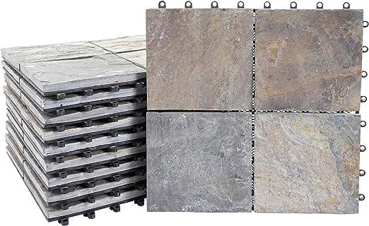 Mendler Baldosas de Piedra HWC-E18, baldosas de Suelo para balcón/terraza, Piedra Natural, 11 x 30 x 30 cm=1 m2, Granit Bunt: Amazon.es: Jardín