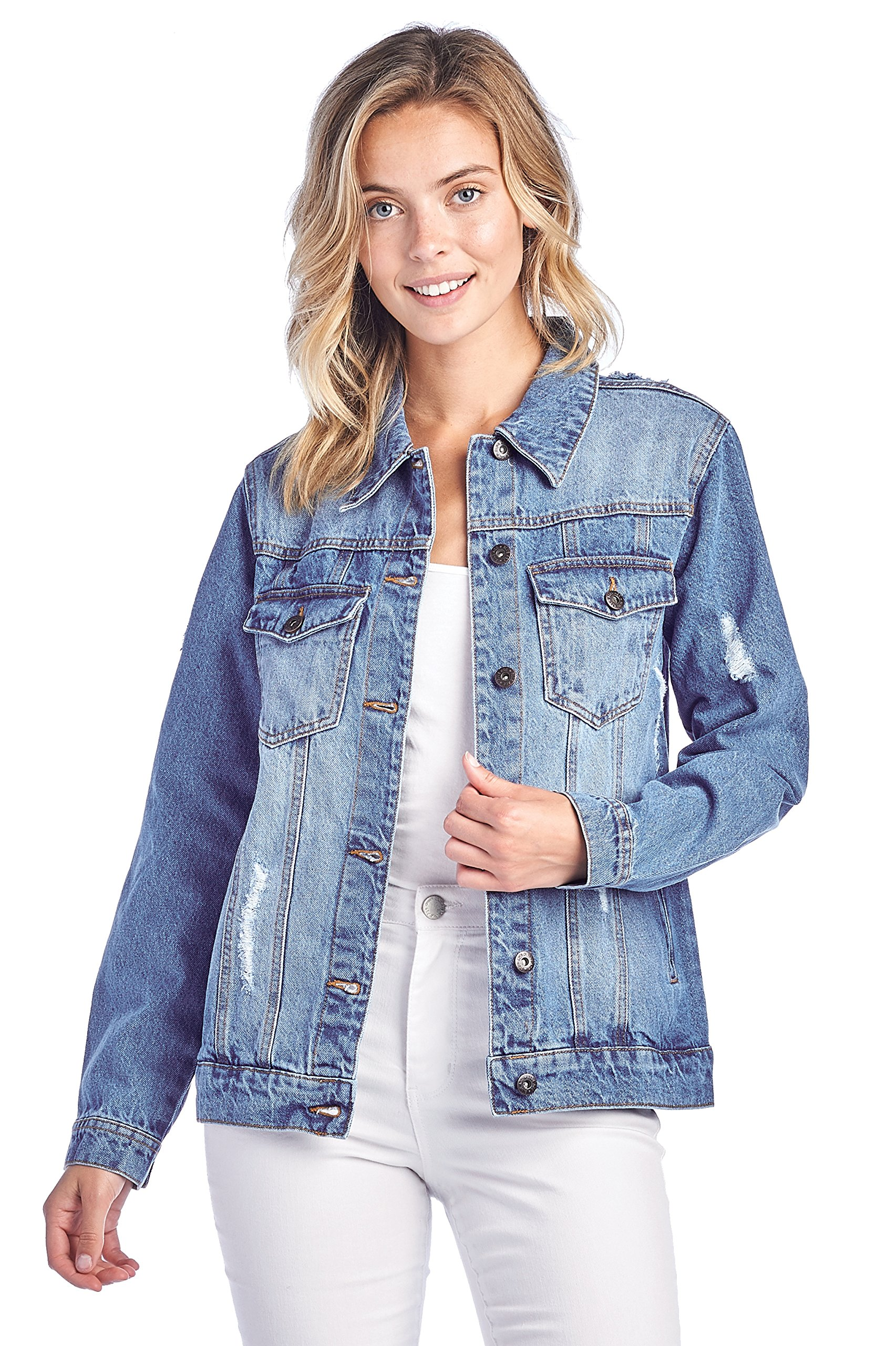 ICONICC Women's Denim Distressed Ripped Jean Jacket (JK4016_LT_M)