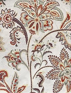 Raymond Waites Nappe Motif Floral Tissu Rouille Taupe Vert Jaune Sur