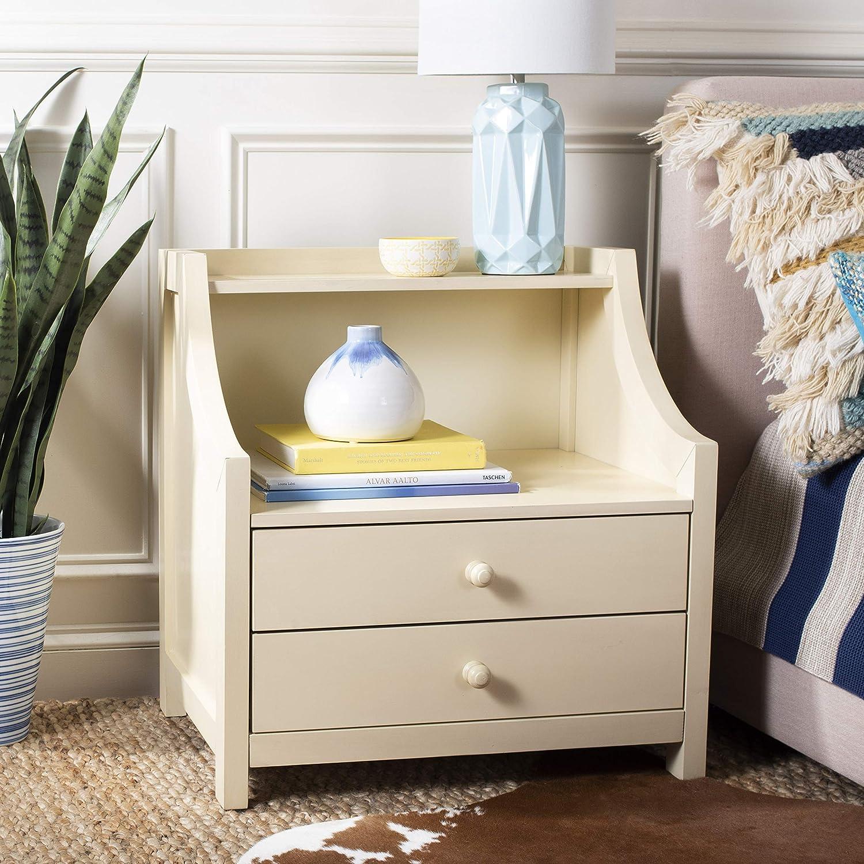 Safavieh Home Collection Ellie 2 Drawer Nightstand White Furniture Decor