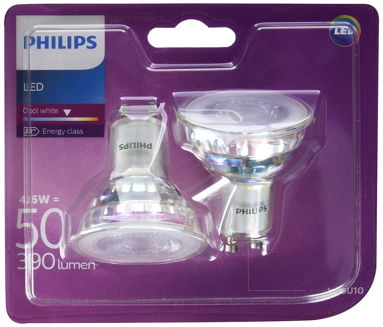 Philips - Bombilla LED Foco GU10 Cristal, 4.6 W Equivalente a 50 W, Luz Blanca Fría, No Regulable - Pack de 2: Amazon.es: Iluminación
