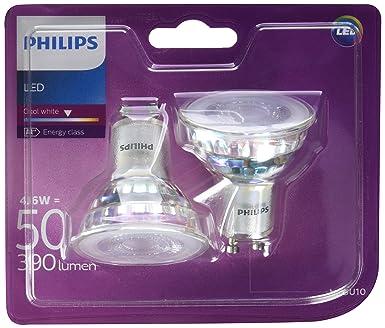 Philips - Bombilla LED Foco GU10 Cristal, 4.6 W Equivalente a 50 W, Luz