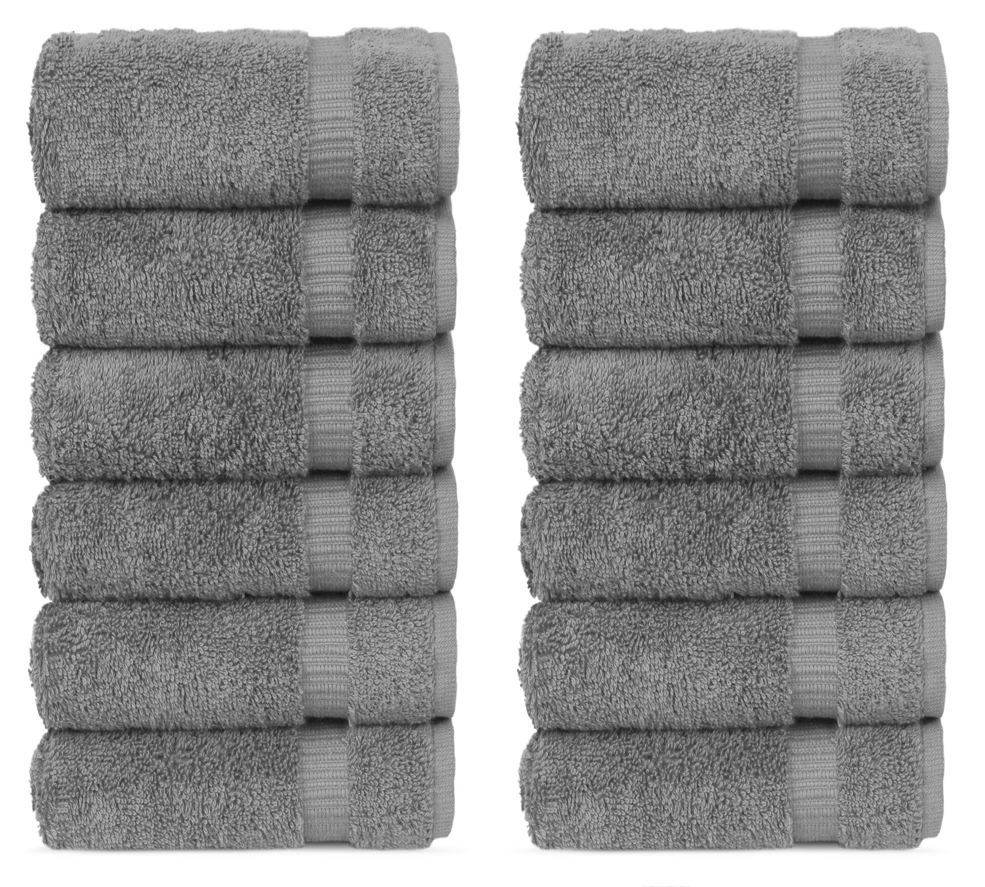 Chakir Turkish Linens Hotel & Spa Quality, Highly Absorbent 100% Turkish Cotton Washcloths (12 Pack, Gray) by Chakir Turkish Linens