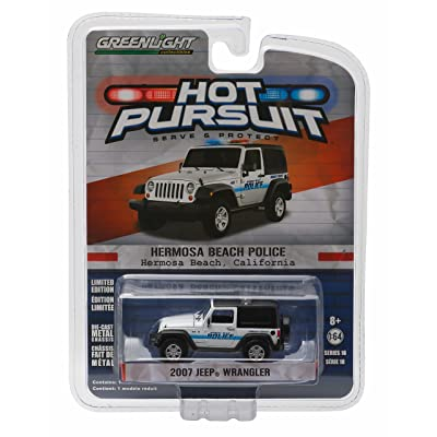 2007 JEEP WRANGLER / HERMOSA BEACH POLICE Hot Pursuit Series 18 2016 Greenlight Collectibles Limited Edition 1:64 Scale Die-Cast Vehicle: Toys & Games
