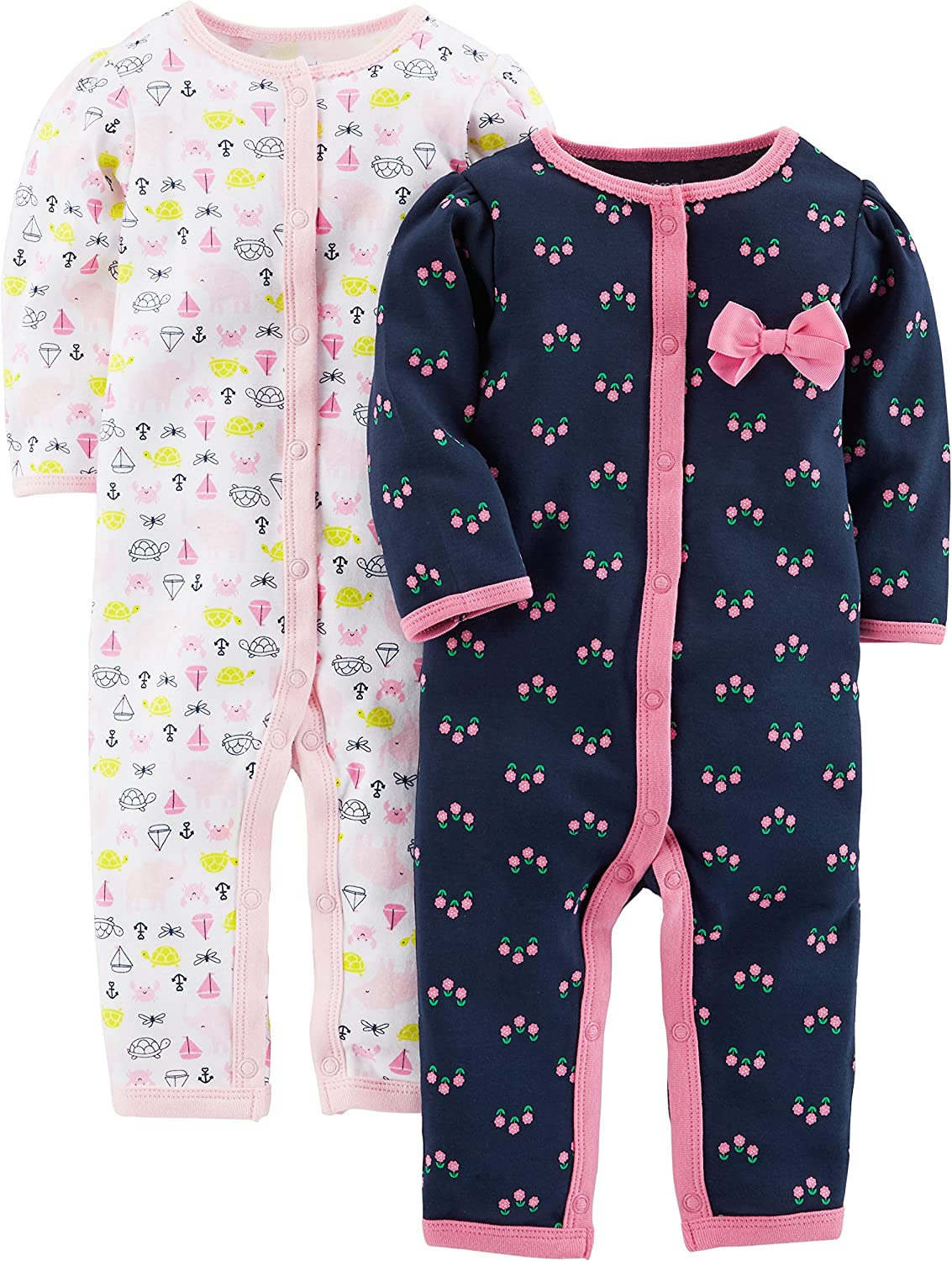 Newborn Elephant//Flowers with Cuffs Simple Joys by Carters Baby Girls 2-Pack Cotton Footless Sleep and Play