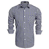 Burlady Karohemd Herren Langarm Hemd Kariert Regular Fit Trachtenhemd Cargo Bügelleicht Doppelfarbig Freizeithemd Männer