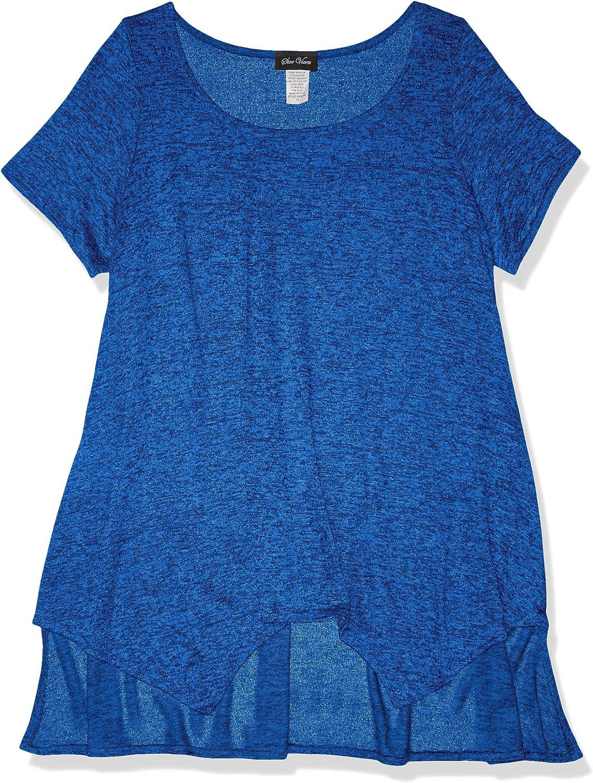 Star Vixen Women's Size Plus-sz Short-SLV Sharkbite Hi-Low Front Hem Sweater KNT Top