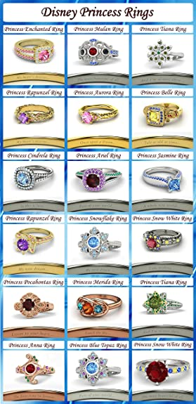 Vorra Fashion 925 Sterling Silver 18 Disney Princess Inspired Engagement  Rings, Wedding Rings (Disney