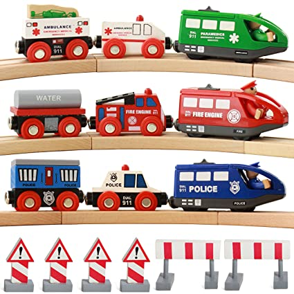 On Track USA Battery Operated Action Rescue Trains, Includes 3 Motorized  Engines and 6 Cars, Compatible for Wooden Tracks from All Major Brands